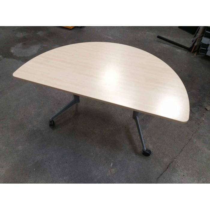 Bureau Table pliante arrondie sur roulettes avec freins SOREM