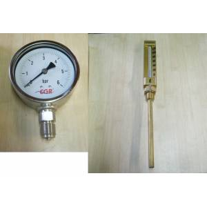 MANOMETRE INOX + THERMOMETRE DROIT 150 MM LAITON